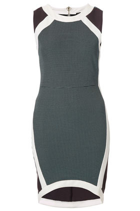 Mixed Texture Bodycon Dress - neckline: round neck; fit: tight; pattern: plain, colourblock; sleeve style: sleeveless; style: bodycon; waist detail: fitted waist; hip detail: draws attention to hips; predominant colour: mid grey; occasions: casual, evening; length: just above the knee; fibres: polyester/polyamide - stretch; sleeve length: sleeveless; texture group: jersey - clingy; trends: sporty redux; pattern type: knitted - other; season: s/s 2013