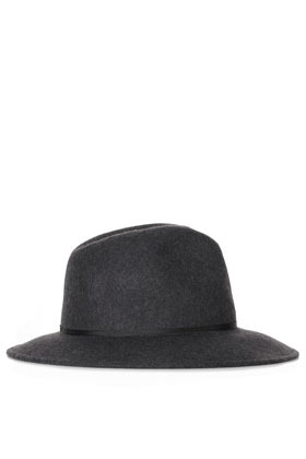 Marl Fedora Hat - predominant colour: charcoal; occasions: casual; type of pattern: standard; embellishment: ribbon; style: fedora; size: standard; material: felt; pattern: plain; season: s/s 2013