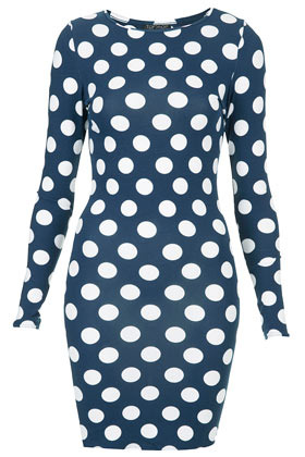 Polka Dot Bodycon Dress - length: mid thigh; neckline: round neck; fit: tight; style: bodycon; pattern: polka dot; hip detail: fitted at hip; predominant colour: navy; occasions: casual, evening; fibres: cotton - stretch; sleeve length: long sleeve; sleeve style: standard; texture group: jersey - clingy; trends: modern geometrics; pattern type: fabric; pattern size: big & busy; season: s/s 2013