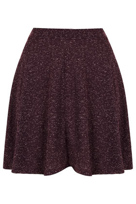 Aubergine Speckle Skater Skirt - length: mid thigh; fit: loose/voluminous; waist detail: fitted waist; waist: mid/regular rise; predominant colour: aubergine; occasions: casual, work; style: a-line; fibres: polyester/polyamide - mix; pattern type: fabric; pattern: patterned/print; texture group: jersey - stretchy/drapey; season: s/s 2013; pattern size: light/subtle (bottom)