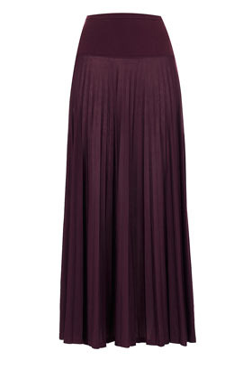 Petite Pleated Maxi Skirt - pattern: plain; fit: body skimming; waist detail: wide waistband/cummerbund; waist: high rise; predominant colour: aubergine; occasions: casual, evening, occasion; length: floor length; style: maxi skirt; fibres: polyester/polyamide - 100%; texture group: sheer fabrics/chiffon/organza etc.; pattern type: fabric; season: s/s 2013