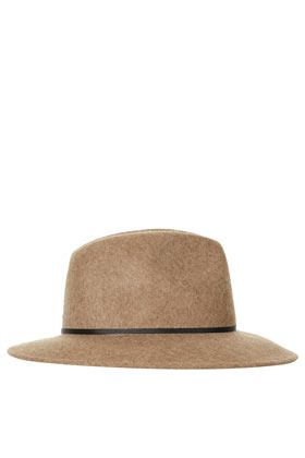 Marl Fedora Hat - predominant colour: camel; occasions: casual, holiday; type of pattern: light; embellishment: ribbon; style: fedora; size: standard; material: felt; pattern: plain; season: s/s 2013