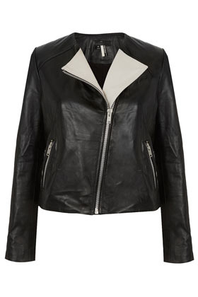 Contrast Lapel Leather Biker Jacket - pattern: plain; style: biker; collar: asymmetric biker; fit: slim fit; predominant colour: black; occasions: casual, evening, work; length: standard; fibres: leather - 100%; sleeve length: long sleeve; sleeve style: standard; texture group: leather; collar break: high/illusion of break when open; pattern type: fabric; pattern size: standard; season: s/s 2013