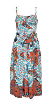 Arly Printed Sun Dress - sleeve style: spaghetti straps; fit: fitted at waist; style: sundress; waist detail: belted waist/tie at waist/drawstring; predominant colour: pale blue; occasions: casual, evening; length: on the knee; fibres: polyester/polyamide - 100%; sleeve length: sleeveless; texture group: cotton feel fabrics; trends: statement prints; neckline: low square neck; pattern type: fabric; pattern size: big & busy; pattern: patterned/print; season: s/s 2013