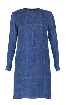 Spike Printed Silk Dress - style: tunic; neckline: round neck; fit: loose; bust detail: buttons at bust (in middle at breastbone)/zip detail at bust; predominant colour: denim; occasions: casual, evening, holiday; length: just above the knee; fibres: silk - 100%; sleeve length: long sleeve; sleeve style: standard; texture group: silky - light; trends: volume, modern geometrics; pattern type: fabric; pattern size: big & busy; pattern: patterned/print; season: s/s 2013