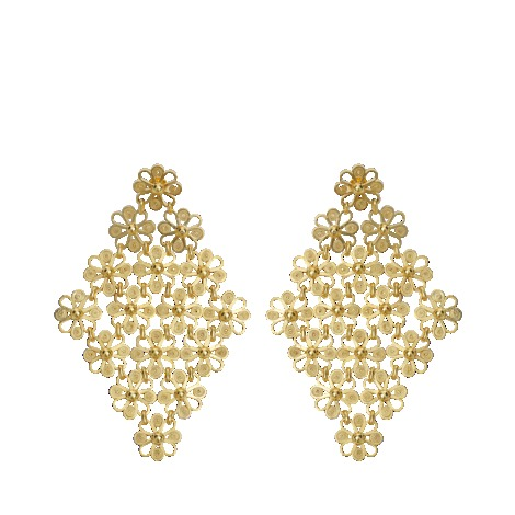 Isabel Earrings - predominant colour: gold; occasions: evening, occasion; style: drop; length: mid; size: large/oversized; material: chain/metal; fastening: pierced; finish: metallic; embellishment: pearls; season: s/s 2013