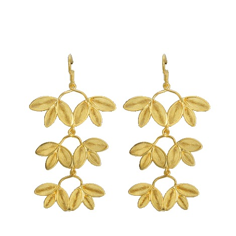 Gloria Earrings - predominant colour: gold; occasions: evening, occasion; style: drop; length: long; size: standard; material: chain/metal; fastening: pierced; finish: metallic; season: s/s 2013