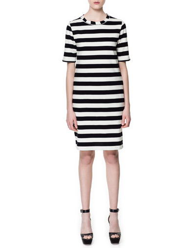 Bold Stripe Dress - style: shift; neckline: round neck; pattern: horizontal stripes; hip detail: fitted at hip; predominant colour: black; occasions: evening; length: just above the knee; fit: body skimming; fibres: cotton - 100%; sleeve length: half sleeve; sleeve style: standard; trends: monochrome, graphic stripes; texture group: cotton feel fabrics; pattern type: fabric; pattern size: big & busy; season: s/s 2013