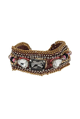 Bead Facet Rhinestone Bracelet - occasions: casual, evening, work, holiday; predominant colour: multicoloured; style: cuff; size: standard; material: chain/metal; trends: metallics; finish: metallic; embellishment: jewels/stone; season: s/s 2013; multicoloured: multicoloured