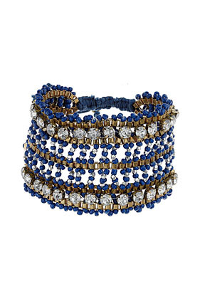 Embellished Beaded Wristband - predominant colour: navy; occasions: casual, evening, work, holiday; style: cuff; size: large/oversized; material: plastic/rubber; trends: metallics; finish: plain; embellishment: beading; season: s/s 2013