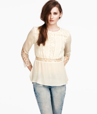 Blouse - neckline: round neck; waist detail: embellishment at waist/feature waistband; style: blouse; shoulder detail: contrast pattern/fabric at shoulder; predominant colour: nude; occasions: casual, evening, work, holiday; length: standard; fibres: polyester/polyamide - 100%; fit: body skimming; hip detail: subtle/flattering hip detail; back detail: keyhole/peephole detail at back; sleeve length: 3/4 length; sleeve style: standard; texture group: lace; pattern type: fabric; pattern size: standard; pattern: patterned/print; season: s/s 2013