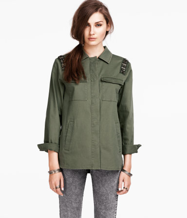Jacket - pattern: plain; style: gilet; bust detail: added detail/embellishment at bust; predominant colour: dark green; occasions: casual, evening, work; length: standard; fit: straight cut (boxy); fibres: cotton - stretch; collar: shirt collar/peter pan/zip with opening; shoulder detail: added shoulder detail; sleeve length: long sleeve; sleeve style: standard; texture group: cotton feel fabrics; collar break: high; pattern type: fabric; pattern size: standard; season: s/s 2013; hip detail: front pockets at hip