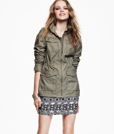 Jacket - pattern: plain; style: double breasted military jacket; bust detail: added detail/embellishment at bust; length: below the bottom; collar: high neck; predominant colour: khaki; occasions: casual; fit: tailored/fitted; fibres: cotton - 100%; waist detail: fitted waist; shoulder detail: added shoulder detail; sleeve length: long sleeve; sleeve style: standard; texture group: cotton feel fabrics; collar break: high; pattern type: fabric; season: s/s 2013; hip detail: front pockets at hip