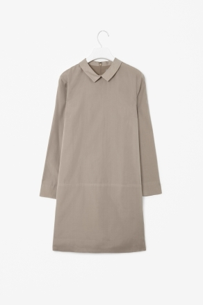 Cotton And Silk Dress - style: shift; length: mid thigh; neckline: shirt collar/peter pan/zip with opening; pattern: plain; waist detail: drop waist; predominant colour: taupe; occasions: casual, evening, work; fit: body skimming; fibres: silk - mix; hip detail: sculpting darts/pleats/seams at hip; sleeve length: long sleeve; sleeve style: standard; texture group: structured shiny - satin/tafetta/silk etc.; pattern type: fabric; pattern size: standard; season: s/s 2013