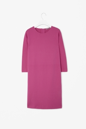 Waist Seam Shift Dress - style: shift; neckline: round neck; pattern: plain; predominant colour: hot pink; occasions: evening; length: just above the knee; fit: body skimming; fibres: cotton - 100%; sleeve length: 3/4 length; sleeve style: standard; pattern type: fabric; texture group: other - light to midweight; season: s/s 2013