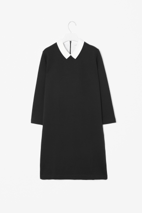 Jersey Shirt Dress - style: shift; neckline: shirt collar/peter pan/zip with opening; pattern: plain; predominant colour: black; occasions: casual, evening, work; length: just above the knee; fit: body skimming; fibres: cotton - 100%; sleeve length: 3/4 length; sleeve style: standard; texture group: cotton feel fabrics; pattern type: fabric; pattern size: light/subtle; season: s/s 2013
