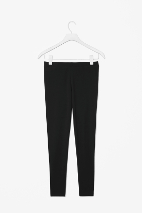 Jersey Leggings - length: standard; pattern: plain; style: leggings; waist: mid/regular rise; predominant colour: black; occasions: casual, evening, work; fibres: cotton - stretch; hip detail: fitted at hip (bottoms); fit: skinny/tight leg; pattern type: fabric; texture group: jersey - stretchy/drapey; season: s/s 2013; pattern size: standard (bottom)
