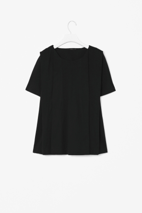 Jersey Box Pleat Top - neckline: round neck; pattern: plain; style: t-shirt; bust detail: ruching/gathering/draping/layers/pintuck pleats at bust; predominant colour: black; occasions: casual, work; length: standard; fibres: cotton - 100%; fit: loose; hip detail: sculpting darts/pleats/seams at hip; shoulder detail: flat/draping pleats/ruching/gathering at shoulder; sleeve length: short sleeve; sleeve style: standard; texture group: cotton feel fabrics; pattern type: fabric; season: s/s 2013
