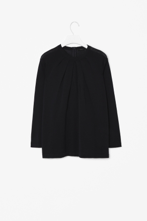 Gathered Knit Top - neckline: round neck; pattern: plain; bust detail: ruching/gathering/draping/layers/pintuck pleats at bust; predominant colour: black; occasions: casual, evening, work; length: standard; style: top; fibres: cotton - 100%; fit: loose; sleeve length: long sleeve; sleeve style: standard; texture group: cotton feel fabrics; trends: volume; pattern type: fabric; pattern size: standard; season: s/s 2013