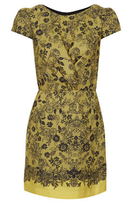Lace Placement Twist Dress - style: shift; length: mid thigh; neckline: round neck; sleeve style: capped; fit: tailored/fitted; waist detail: fitted waist; hip detail: draws attention to hips; bust detail: subtle bust detail; predominant colour: yellow; occasions: casual; fibres: polyester/polyamide - 100%; sleeve length: short sleeve; pattern type: fabric; pattern size: standard; pattern: florals; texture group: other - light to midweight; season: s/s 2013