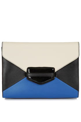 Colour Block Clutch - predominant colour: royal blue; occasions: casual, evening, occasion; type of pattern: light; style: clutch; length: hand carry; size: small; material: faux leather; finish: plain; pattern: colourblock; season: s/s 2013