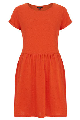 Speckle Roll Sleeve Mini - length: mid thigh; neckline: round neck; pattern: plain; waist detail: fitted waist; predominant colour: bright orange; occasions: casual, creative work; fit: fitted at waist & bust; style: fit & flare; fibres: cotton - mix; sleeve length: short sleeve; sleeve style: standard; pattern type: fabric; texture group: other - light to midweight; season: s/s 2013