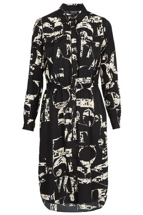 Letter Print Shirtdress - style: shirt; neckline: shirt collar/peter pan/zip with opening; fit: fitted at waist; bust detail: added detail/embellishment at bust; waist detail: elasticated waist; predominant colour: black; occasions: casual, evening; length: just above the knee; fibres: polyester/polyamide - 100%; hip detail: ruching/gathering at hip; sleeve length: long sleeve; sleeve style: standard; pattern type: fabric; pattern size: big & busy; pattern: patterned/print; texture group: other - light to midweight; season: s/s 2013