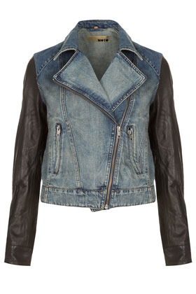 Moto Premium Leather Sleeve Denim Biker Jacket - pattern: plain; style: biker; collar: asymmetric biker; fit: slim fit; predominant colour: denim; occasions: casual, evening, work; length: standard; fibres: cotton - 100%; waist detail: fitted waist; bust detail: contrast pattern/fabric/detail at bust; sleeve length: long sleeve; sleeve style: standard; texture group: denim; collar break: high/illusion of break when open; pattern type: fabric; pattern size: light/subtle; season: s/s 2013; hip detail: front pockets at hip