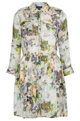 Tipped Floral Shirtdress - style: shirt; length: mid thigh; neckline: shirt collar/peter pan/zip with opening; shoulder detail: obvious epaulette; waist detail: fitted waist; bust detail: pocket detail at bust; occasions: casual; fit: fitted at waist & bust; fibres: polyester/polyamide - 100%; hip detail: adds bulk at the hips; predominant colour: multicoloured; sleeve length: long sleeve; sleeve style: standard; pattern type: fabric; pattern size: light/subtle; pattern: florals; texture group: other - light to midweight; season: s/s 2013; multicoloured: multicoloured