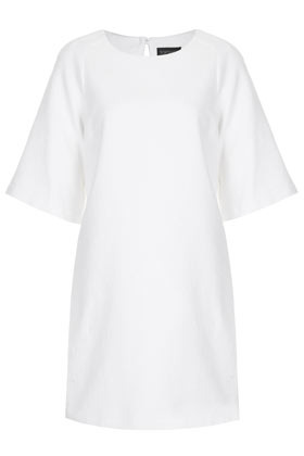 Clean Textured Shift Dress - style: shift; length: mid thigh; neckline: round neck; pattern: plain; predominant colour: white; occasions: casual, evening; fit: body skimming; fibres: cotton - mix; back detail: keyhole/peephole detail at back; sleeve length: half sleeve; sleeve style: standard; pattern type: fabric; texture group: jersey - stretchy/drapey; season: s/s 2013