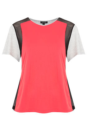 Mesh Insert Colour Block Top - neckline: round neck; style: t-shirt; shoulder detail: contrast pattern/fabric at shoulder; back detail: contrast pattern/fabric at back; predominant colour: coral; occasions: casual, evening, work; length: standard; fibres: polyester/polyamide - 100%; fit: body skimming; hip detail: contrast fabric/print detail at hip; bust detail: contrast pattern/fabric/detail at bust; sleeve length: short sleeve; sleeve style: standard; trends: fluorescent; pattern type: fabric; pattern size: light/subtle; pattern: colourblock; texture group: other - light to midweight; season: s/s 2013