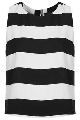 Sleeveless Stripe Shell Top - neckline: round neck; pattern: horizontal stripes; sleeve style: sleeveless; style: vest top; back detail: contrast pattern/fabric at back; predominant colour: black; occasions: casual, evening, work, holiday; length: standard; fibres: polyester/polyamide - 100%; fit: body skimming; sleeve length: sleeveless; trends: striking stripes; pattern type: fabric; texture group: other - light to midweight; season: s/s 2013; pattern size: big & busy (top)