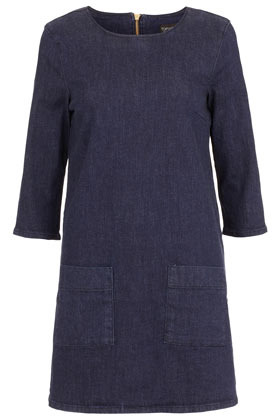 Indigo Wash Tunic Dress - style: tunic; length: mid thigh; neckline: round neck; pattern: plain; hip detail: front pockets at hip; predominant colour: royal blue; occasions: casual, evening; fit: body skimming; fibres: cotton - stretch; sleeve length: 3/4 length; sleeve style: standard; texture group: denim; pattern type: fabric; season: s/s 2013