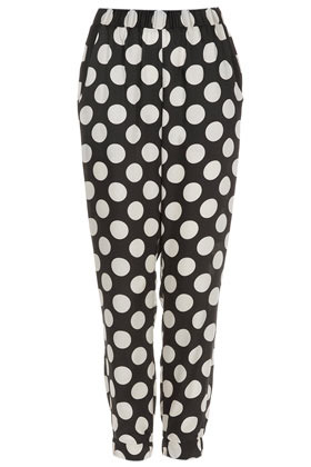 Spot Woven Joggers - length: standard; waist detail: elasticated waist; waist: high rise; pattern: polka dot; pocket detail: pockets at the sides; predominant colour: black; occasions: casual, evening, work, holiday; fibres: polyester/polyamide - 100%; jeans & bottoms detail: turn ups; trends: statement prints; fit: slim leg; pattern type: fabric; texture group: other - light to midweight; style: standard; season: s/s 2013; pattern size: big & busy (bottom)