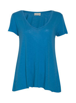 Jacksonville Short Sleeve Tee - neckline: v-neck; pattern: plain; style: t-shirt; predominant colour: diva blue; occasions: casual, work; length: standard; fibres: cotton - mix; fit: loose; sleeve length: short sleeve; sleeve style: standard; pattern type: fabric; pattern size: standard; texture group: jersey - stretchy/drapey; season: s/s 2013