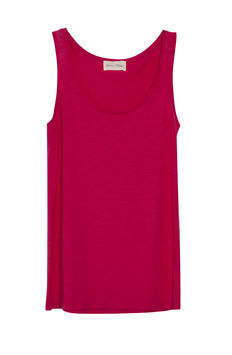 Jacksonville Tank - pattern: plain; sleeve style: sleeveless; style: vest top; predominant colour: hot pink; occasions: casual, work; length: standard; neckline: scoop; fibres: cotton - mix; fit: straight cut; sleeve length: sleeveless; pattern type: fabric; pattern size: standard; texture group: jersey - stretchy/drapey; season: s/s 2013