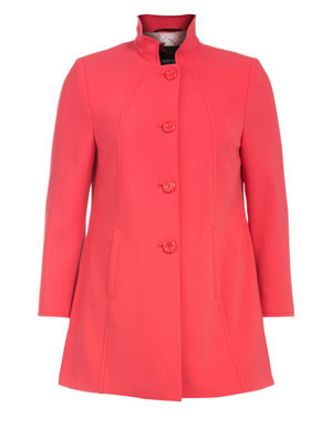 A Cut Single Row Coat - pattern: plain; length: below the bottom; style: single breasted; collar: high neck; predominant colour: true red; occasions: casual; fit: tailored/fitted; fibres: viscose/rayon - stretch; sleeve length: long sleeve; sleeve style: standard; trends: fluorescent; collar break: high; pattern type: fabric; texture group: other - light to midweight; season: s/s 2013