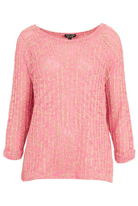 Knitted Fluro Twist Jumper - neckline: round neck; pattern: plain; style: standard; predominant colour: pink; occasions: casual; length: standard; fibres: acrylic - 100%; fit: standard fit; sleeve length: 3/4 length; sleeve style: standard; texture group: knits/crochet; pattern type: knitted - other; pattern size: light/subtle; season: s/s 2013