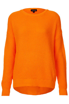 Knitted Textured Stitch Jumper - neckline: round neck; pattern: plain; length: below the bottom; style: standard; predominant colour: bright orange; occasions: casual, work; fibres: acrylic - 100%; fit: loose; back detail: longer hem at back than at front; sleeve length: long sleeve; sleeve style: standard; texture group: knits/crochet; trends: fluorescent; pattern type: knitted - other; pattern size: light/subtle; season: s/s 2013