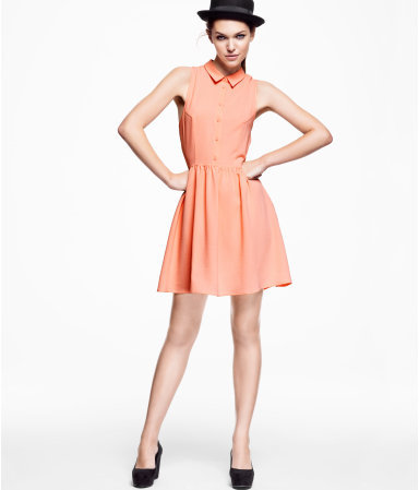 Dress - style: shirt; length: mid thigh; neckline: shirt collar/peter pan/zip with opening; pattern: plain; sleeve style: sleeveless; waist detail: fitted waist; bust detail: buttons at bust (in middle at breastbone)/zip detail at bust; predominant colour: coral; occasions: casual, evening; fit: fitted at waist & bust; fibres: polyester/polyamide - stretch; hip detail: soft pleats at hip/draping at hip/flared at hip; sleeve length: sleeveless; texture group: crepes; pattern type: fabric; season: s/s 2013