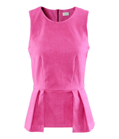 Top - neckline: round neck; pattern: plain; sleeve style: sleeveless; waist detail: peplum waist detail; bust detail: ruching/gathering/draping/layers/pintuck pleats at bust; predominant colour: pink; occasions: casual, evening, work; length: standard; style: top; fibres: polyester/polyamide - mix; fit: body skimming; sleeve length: sleeveless; pattern type: fabric; pattern size: standard; texture group: other - light to midweight; season: s/s 2013