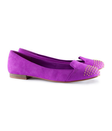 Ballet Pumps - predominant colour: magenta; occasions: casual, work, holiday; material: faux leather; heel height: flat; embellishment: studs; toe: round toe; style: ballerinas / pumps; trends: fluorescent; finish: metallic; pattern: plain; season: s/s 2013