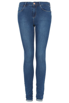 Tall Moto Leigh Skinny Jeans - style: skinny leg; length: standard; pattern: plain; pocket detail: traditional 5 pocket; waist: mid/regular rise; predominant colour: denim; occasions: casual; fibres: cotton - mix; jeans detail: shading down centre of thigh, washed/faded; jeans & bottoms detail: turn ups; texture group: denim; pattern type: fabric; season: s/s 2013