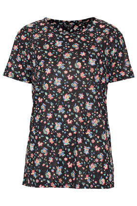 Floral Tee - neckline: round neck; style: t-shirt; predominant colour: black; occasions: casual, evening, work; length: standard; fibres: polyester/polyamide - 100%; fit: body skimming; sleeve length: short sleeve; sleeve style: standard; pattern type: fabric; pattern size: standard; pattern: florals; texture group: other - light to midweight; season: s/s 2013