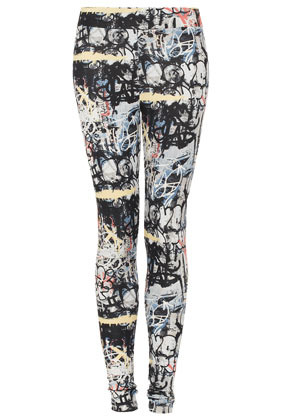Grafitti Highshine Leggings - length: standard; style: leggings; waist detail: elasticated waist; waist: mid/regular rise; occasions: casual; fibres: polyester/polyamide - stretch; predominant colour: multicoloured; texture group: jersey - clingy; trends: statement prints; fit: skinny/tight leg; pattern type: fabric; pattern: patterned/print; season: s/s 2013; pattern size: big & busy (bottom); multicoloured: multicoloured