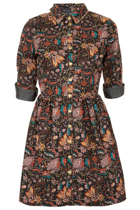 Print Stud Denim Shirtdress - style: shirt; length: mid thigh; neckline: shirt collar/peter pan/zip with opening; fit: fitted at waist; waist detail: fitted waist; predominant colour: black; occasions: casual; fibres: cotton - mix; shoulder detail: discreet epaulette; sleeve length: half sleeve; sleeve style: standard; texture group: denim; pattern type: fabric; pattern size: big & busy; pattern: florals; season: s/s 2013