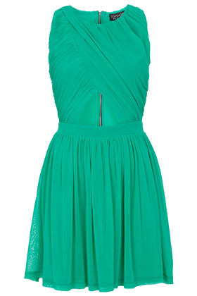 Wrap Mesh Skater Dress - length: mid thigh; neckline: round neck; pattern: plain; sleeve style: sleeveless; bust detail: subtle bust detail; predominant colour: emerald green; occasions: casual, evening, occasion, holiday; fit: fitted at waist & bust; style: fit & flare; fibres: polyester/polyamide - 100%; hip detail: adds bulk at the hips; waist detail: cut out detail; shoulder detail: subtle shoulder detail; back detail: embellishment at back; sleeve length: sleeveless; texture group: sheer fabrics/chiffon/organza etc.; pattern type: fabric; season: s/s 2013