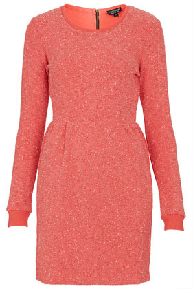 Boucle Sweater Dress - style: jumper dress; length: mid thigh; neckline: round neck; pattern: plain; waist detail: fitted waist; predominant colour: coral; occasions: casual; fit: body skimming; fibres: polyester/polyamide - mix; hip detail: sculpting darts/pleats/seams at hip; back detail: embellishment at back; sleeve length: long sleeve; sleeve style: standard; pattern type: knitted - other; texture group: jersey - stretchy/drapey; season: s/s 2013