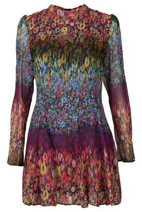 Ombre Floral High Neck Dress - style: shift; length: mid thigh; sleeve style: puffed; fit: fitted at waist; neckline: high neck; waist detail: fitted waist; occasions: casual, holiday; fibres: polyester/polyamide - 100%; hip detail: soft pleats at hip/draping at hip/flared at hip; shoulder detail: flat/draping pleats/ruching/gathering at shoulder; predominant colour: multicoloured; sleeve length: long sleeve; texture group: sheer fabrics/chiffon/organza etc.; pattern type: fabric; pattern size: standard; pattern: florals; season: s/s 2013; multicoloured: multicoloured