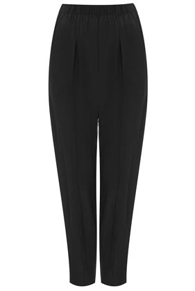 Zip Hem Silk Joggers Boutique - pattern: plain; style: tracksuit pants; waist detail: elasticated waist; waist: mid/regular rise; predominant colour: black; occasions: casual, evening; length: ankle length; fibres: silk - 100%; hip detail: front pleats at hip level; texture group: silky - light; fit: baggy; pattern type: fabric; season: s/s 2013